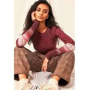 Free People Mix Crochet Cuff Vino Thermal Knit Top